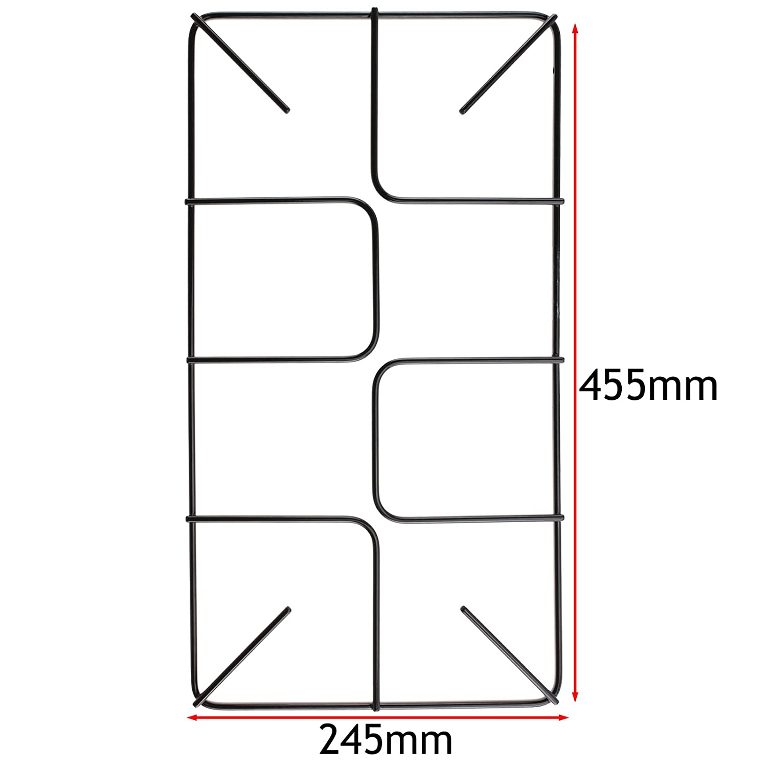 SPARES2GO Flat Gas Hob Pan Support Stand for Bosch Oven Cookers Pack of 2, 455mm x 245mm, Large