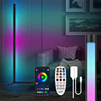 """Smart Corner Floor Lamp, 61.5"""" APP Remote Control Corner Lights with Music Sync, LED RGB Color Changing Dimmable Floor…"""