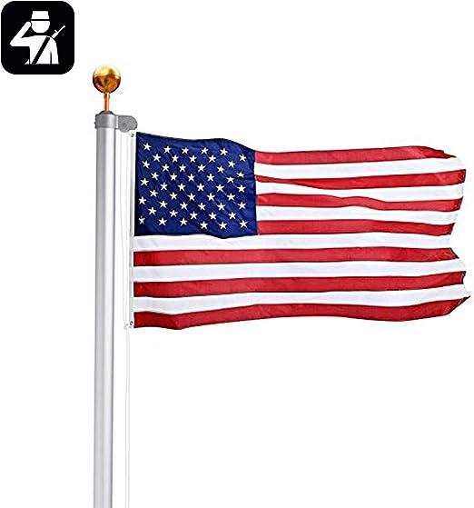 Mástil de aluminio de 20 ft Seccional Americano Kit de bola dorada mástil para bandera de 3 x 5: Amazon.es: Jardín