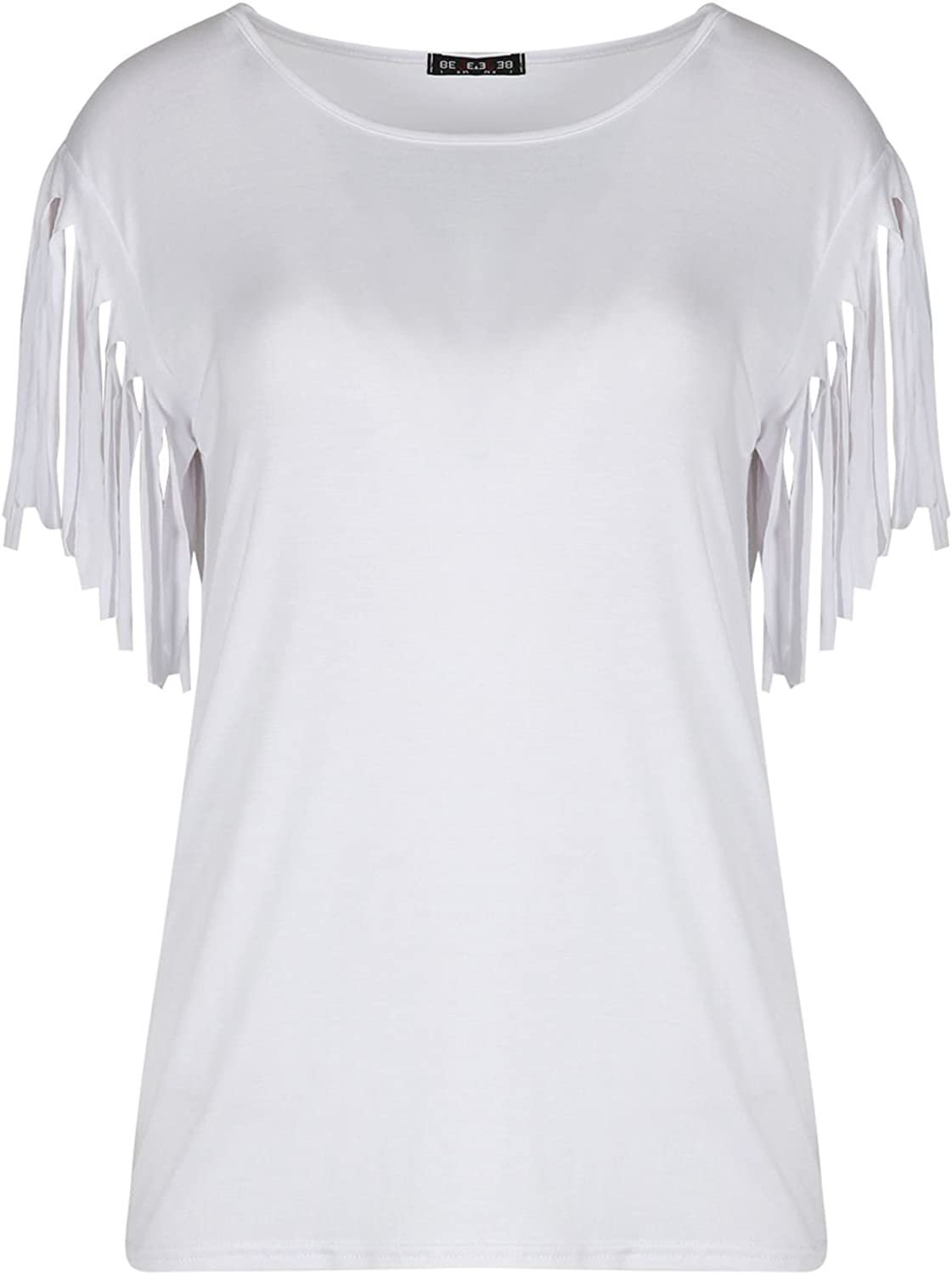 Oops Outlet UK Womens Fashion Ladies Fringe Summer Loose Top Short Sleeve Blouse Casual Top T Shirt