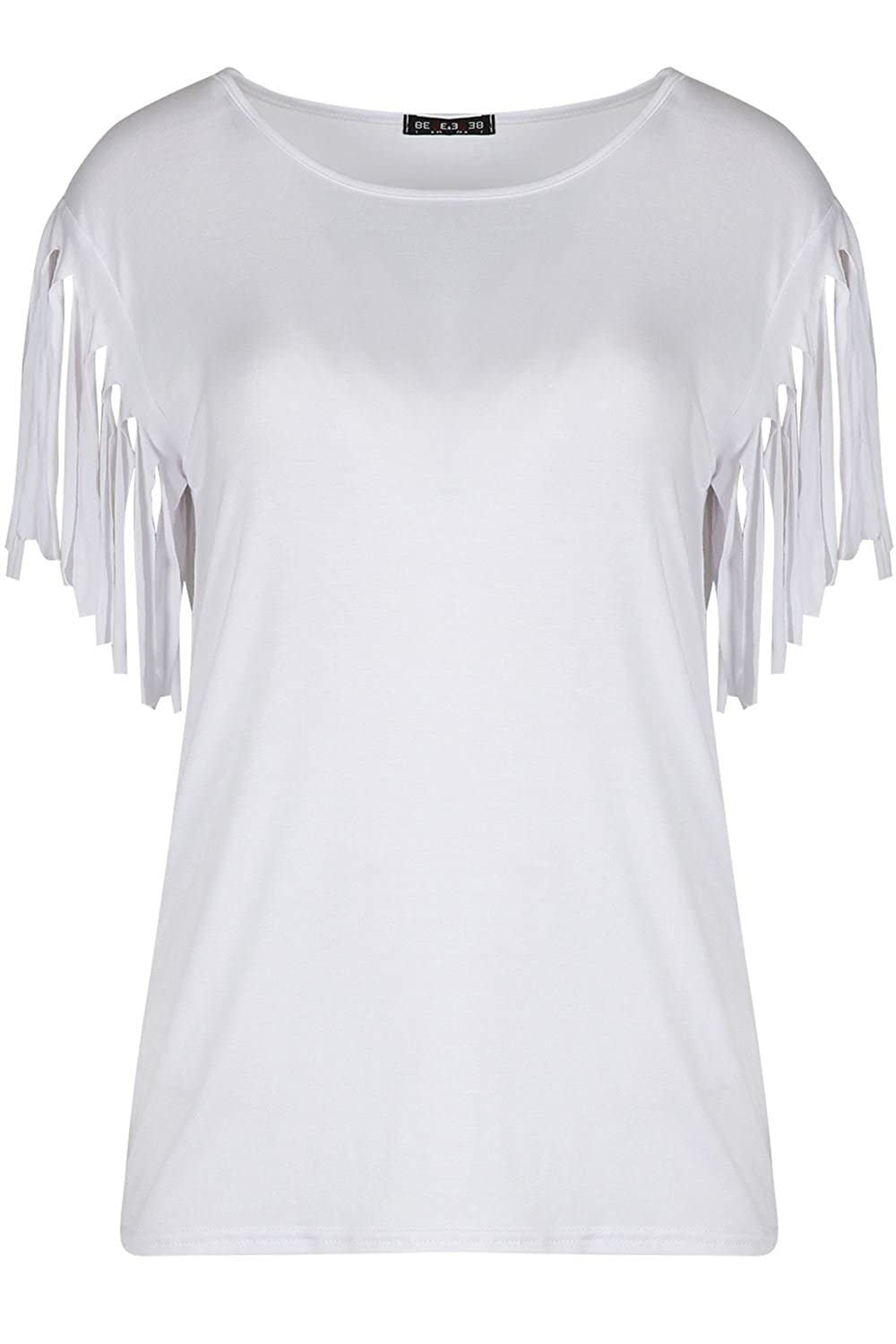 Be Jealous Womens Ladies Fringe Summer Loose Short Sleeve Blouse Casual Fashion Top Tee T Shirt