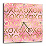 3dRose PS Inspiration - Image of Gold Pink XOXO - 15x15 Wall Clock (dpp_280720_3)