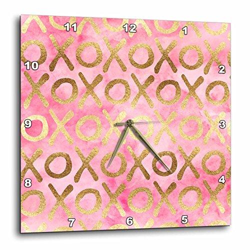 3dRose PS Inspiration - Image of Gold Pink XOXO - 15x15 Wall Clock (dpp_280720_3) by 3dRose