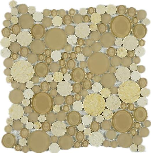 Amazon Com Twg 12 Beige And Ivory Random Bubble In Multi Circle Glass Mosaic Tile Backsplash Home Kitchen