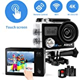 Action Camera, ABOX 4K 16MP WiFi Sport Cam 30M Waterproof Camcorder with EIS Touch Screen/Dual Screen Display, 170°Wide-Angle Len,2.4G RF Remote, 2Pcs 1050mAh Batteries and Mounting Accessories Kits