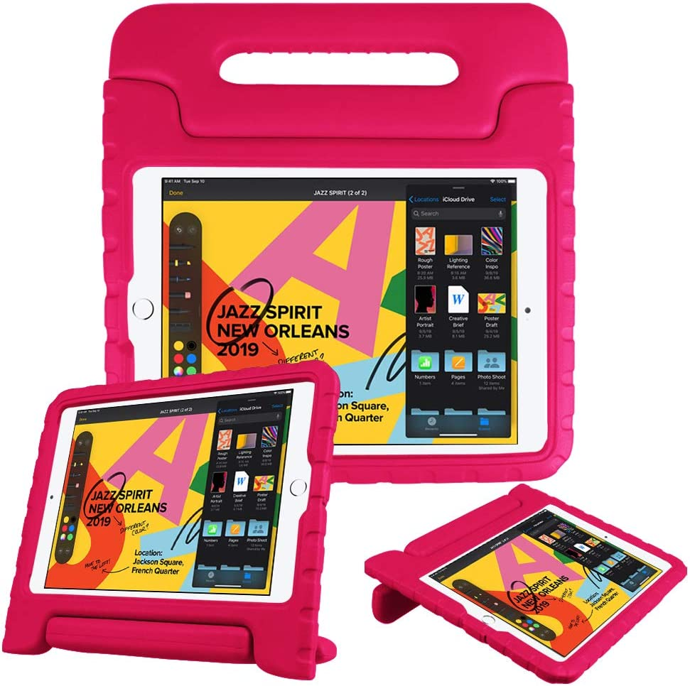 """Fintie Kids Case for New iPad 8th / 7th Generation, iPad 10.2 Inch 2020 / 2019 Case - Shockproof Light Weight Handle Stand Case, Compatible with iPad Air 3 10.5"""" 2019 & iPad Pro 10.5"""" 2017, Magenta"""