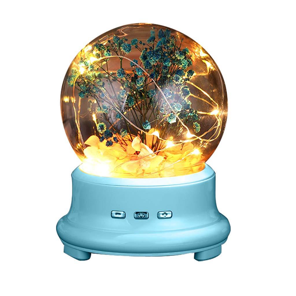 Fescra Led Bottle Lamp Preserved Flower in Glass Dome, Noctilucous Bluetooth Speaker (Blue)