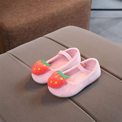 Toddler Girls Strawberry Suede Mary Jane Flats Slip On Princess Dress Shoes