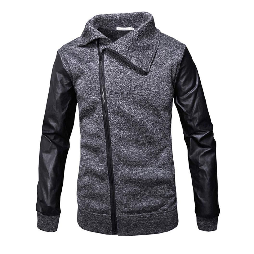 Kstare Men's Casual Autumn Winter Zipper Leather Patchwork Outwear Tops Coat