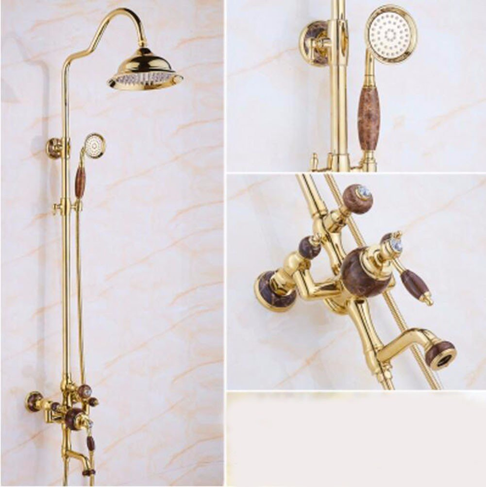 O Shower set golden Natural Jade Shower Set European Style All Copper gold-Plated Hot And Cold Faucet Antique Bathroom Lift Shower,A