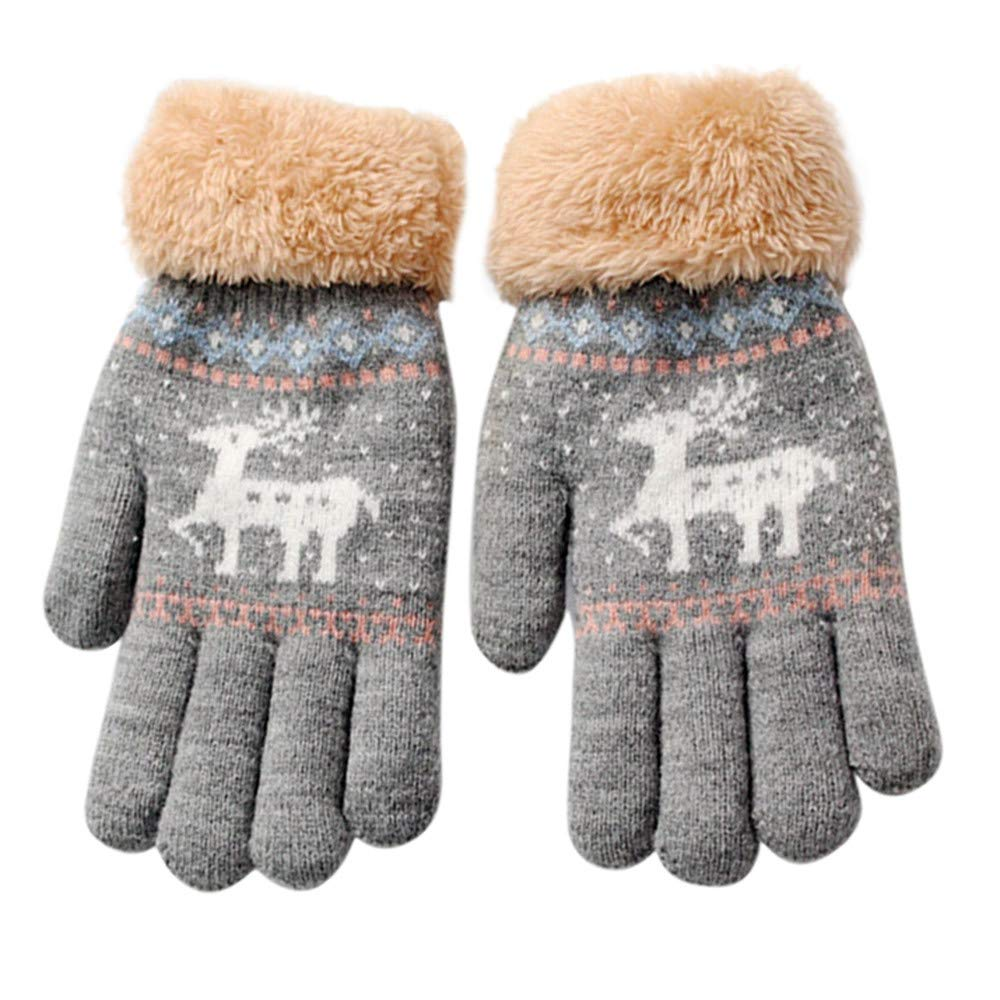 8-13 Years Kids Girls Boys Christmas Deer Knitted Mittens, Cute Thicken Cartoon Fawn Winter Warm Plush Snow Gloves Cute Thicken Cartoon Fawn Winter Warm Plush Snow Gloves (Navy 8-13 Years) Aritone BE-77
