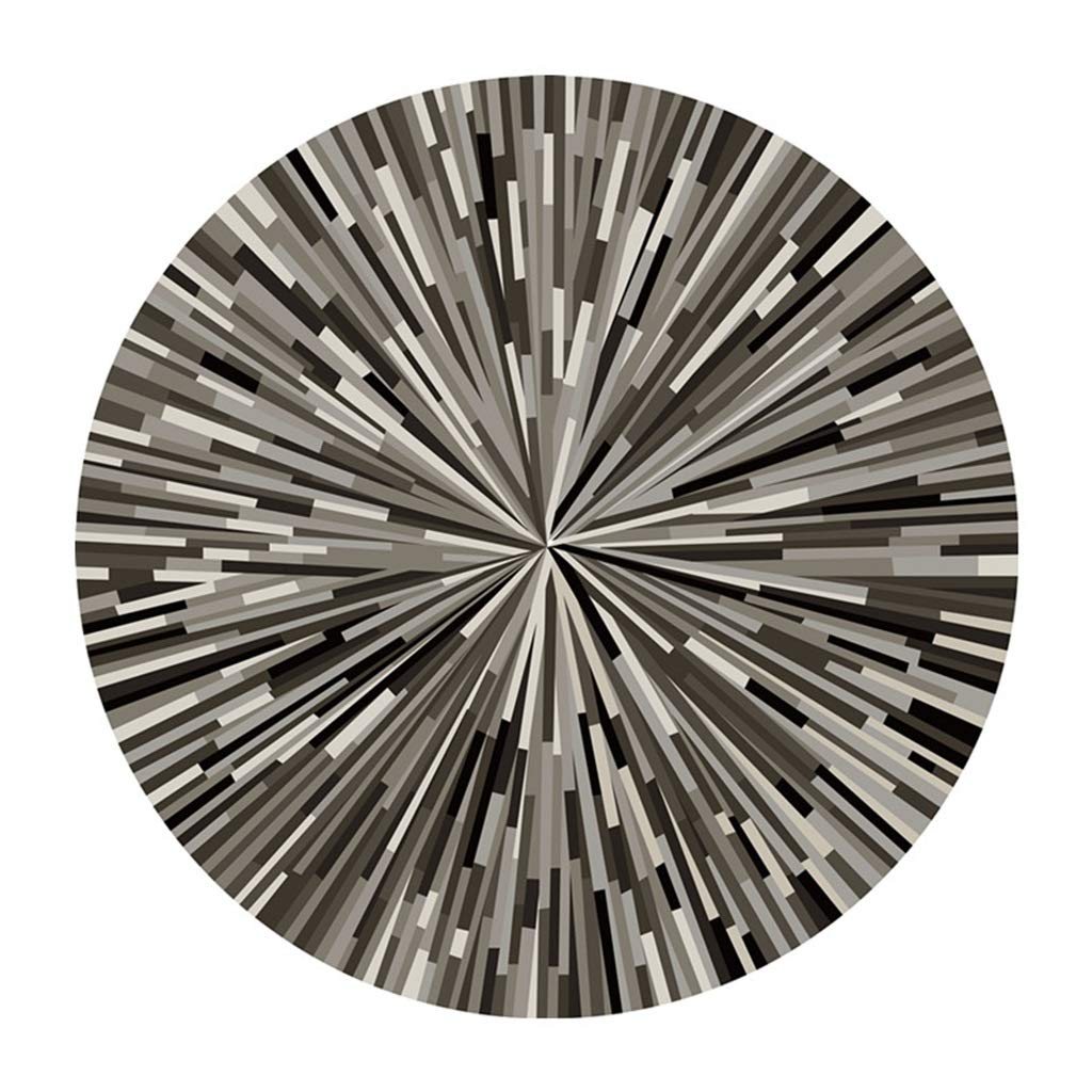 QDY-Rug Geometric Stripes Carpet Black and White Ash Simple Abstract Round Rugs for Study/Computer Desk/Chair Floor Mat (Size : Diameter120cm)