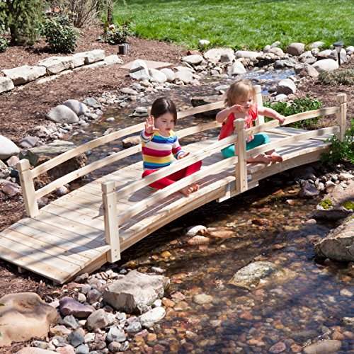 Attractive Design, Weather-Resistant 10-ft. Wood Garden Bridge with Rails - Assembly Required by Coral Coast (Image #1)