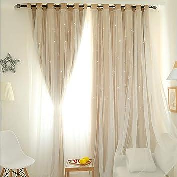 Amazon.de: MMLsure® Voile Vorhang, Gypsophila Doppelschicht Vorhang ...