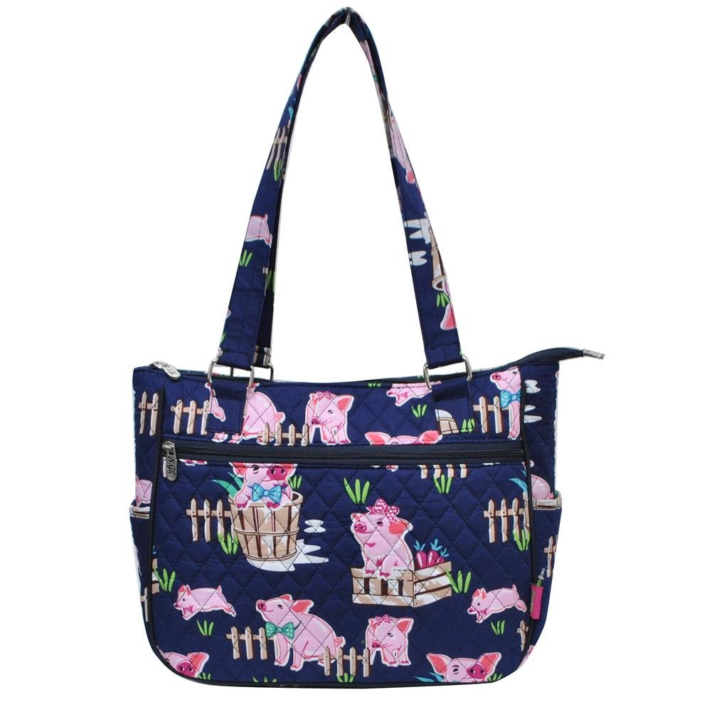 Ngil Quilted Cotton Shoulder Bag (Pig Navy Blue)