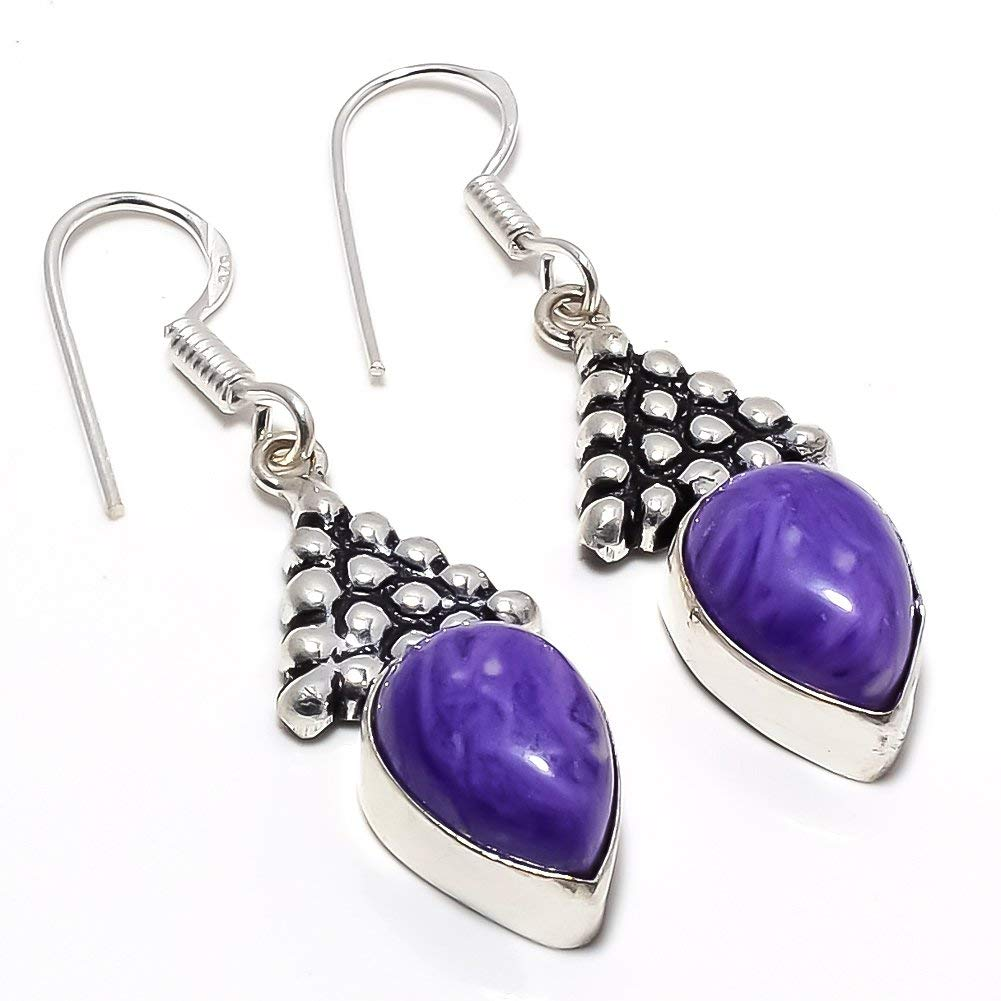 Handmade Jewellry Purple Turquoise Silver Plated 7 Grams Earring 1.75 Long Outstanding