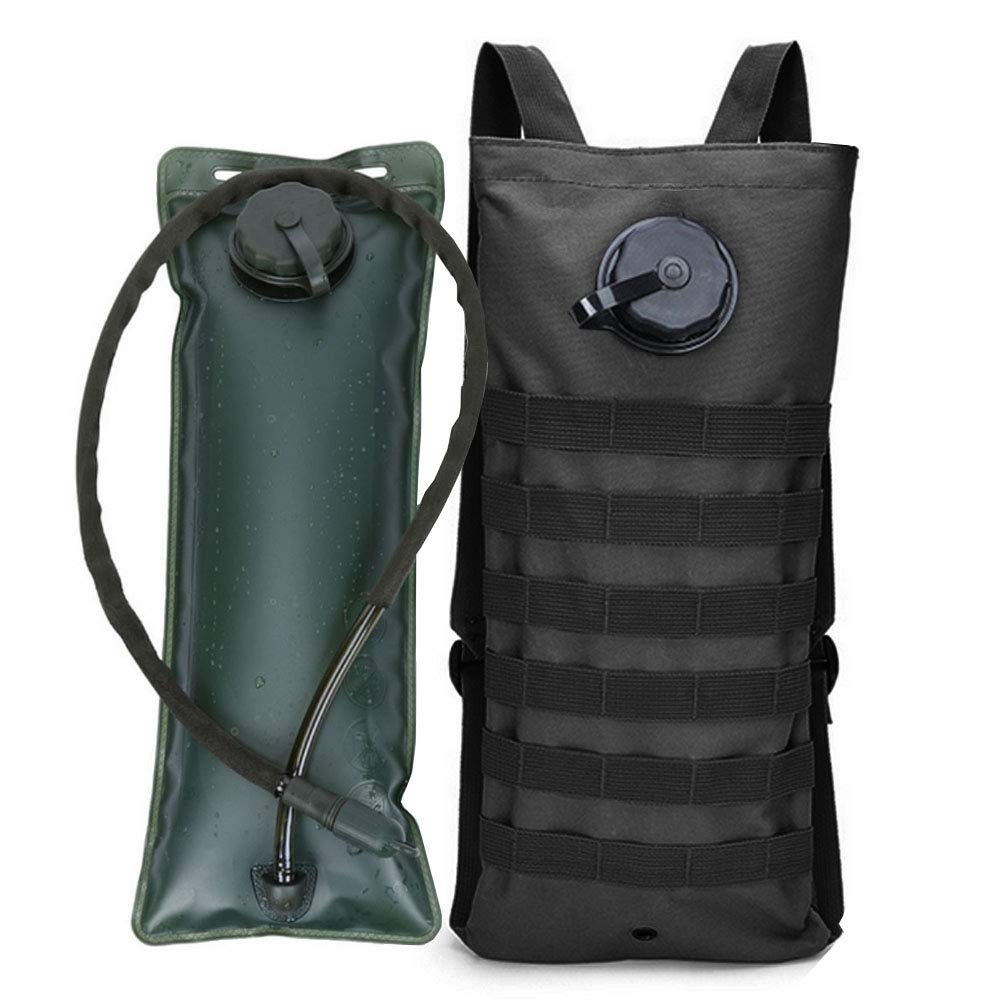 AIMILL Tactical Molle Hydration Pack Bag Water Camel Backpack Reservoir Carrier Daypack (Black, 2.5-3L (84-100oz)) by AIMILL