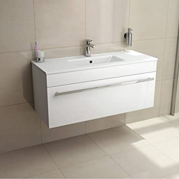VeeBath Sphinx 1000mm White Gloss Wall Hung Vanity Unit With Ceramic ...