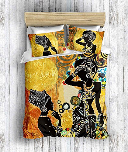(DecoMood 3D Printed 100% Cotton African Design Bedding Set, Traditional African Women Silhouette Themed, Full/Queen Size Quilt/Duvet Cover Set with Fitted Sheets, (6 Pcs))