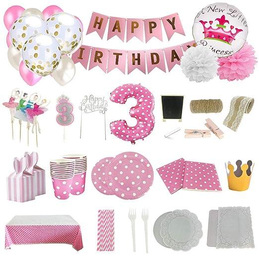 Set de Artículos Accesorios Completo para Decoración Fiestas Cumpleaños bebé Niña de 3 año Lote de 164 piezas Sirve 16 Invitados