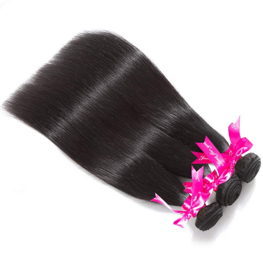Subella Brazilian Straight Hair 3 Bundles 14 16 18inch Grade 9A Virgin Straight Human Hair Bundles Natural Black Color Hair Weave by Subella (Image #2)