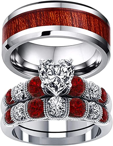 Rings Finger Rings 7 Titanium Steel Red Glass Rhinestone Ring Gold Plated Fashion Ring for Men Women