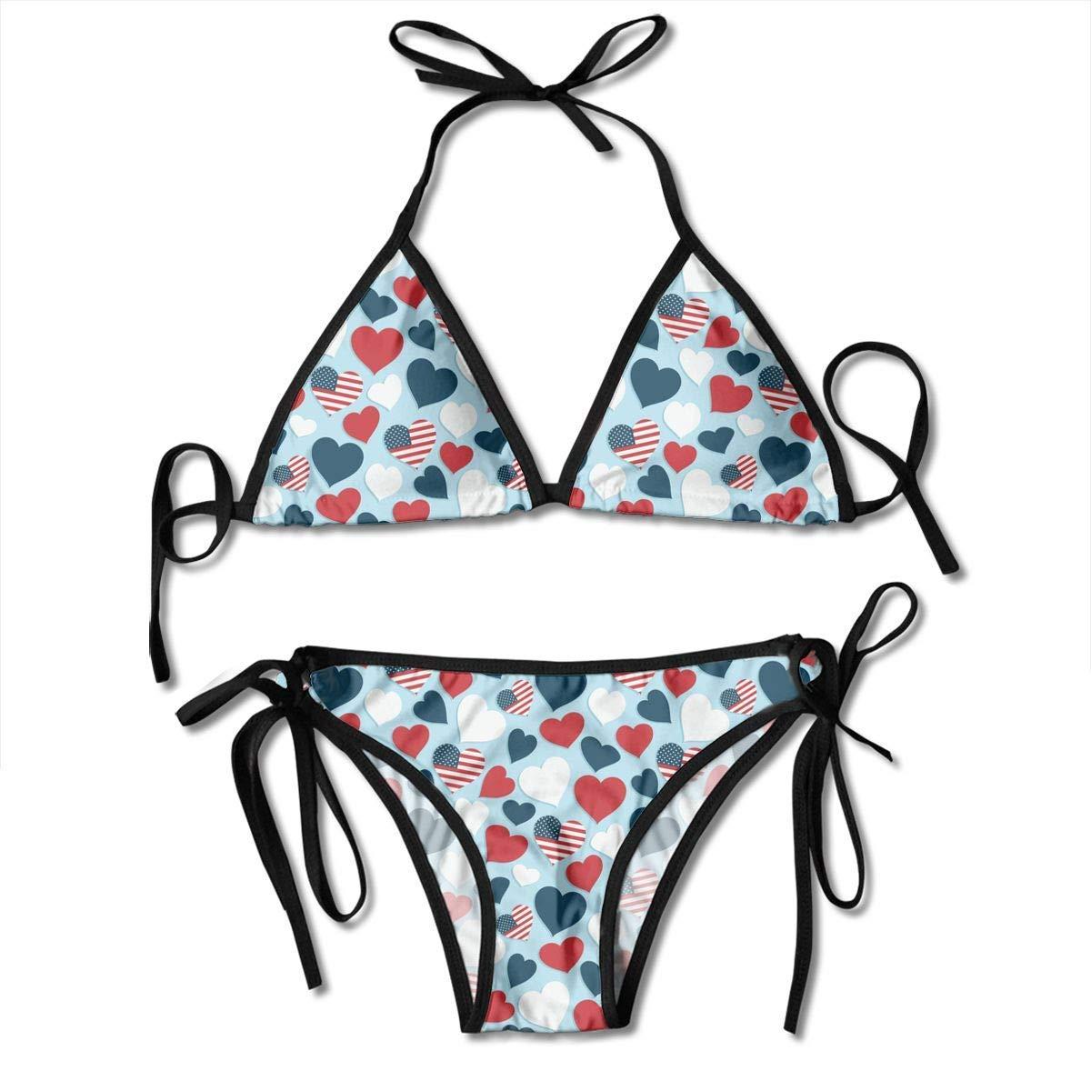 2a15b8927f2f Amazon.com: FunnyStuffs Women's Bathing Suit Adjustable USA Flag Heart  Pattern Sexy Bikini Set 2 Piece Black: Clothing