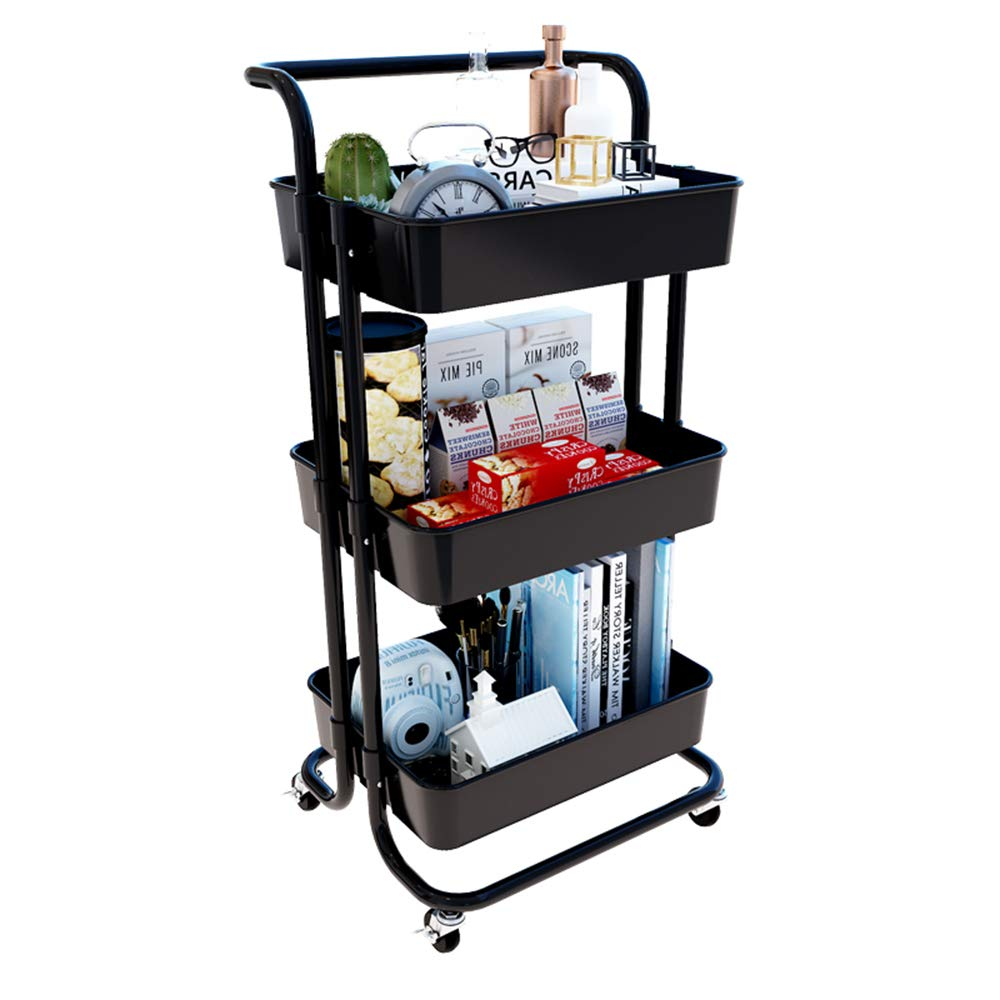 MLQ Three-Tier Trolley Storage Rack with Wheels, Removable, Large Capacity, Suitable for Storing Chopsticks, Fruits and Vegetables, Detergents, Black