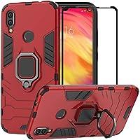 BestMX Funda para Xiaomi Redmi Note 7 Case Protector de Pantalla de Cristal Templado, Híbrida Rugged Armor Choque Absorción Protección Dual Layer Bumper Carcasa con Pie De Apoyo, Rojo