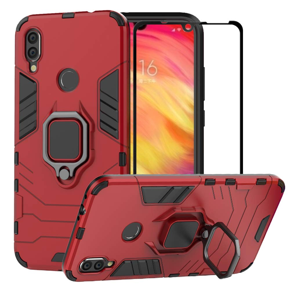 BestAlice for Xiaomi Redmi Note 7 / Redmi Note 7 Pro Case, Hybrid Heavy Duty Protection Shockproof Defender Kickstand Armor Case Cover Tempered Glass ...