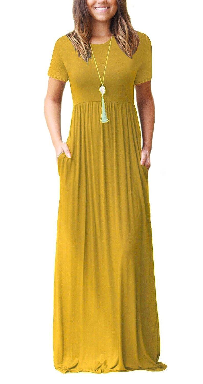 0db13e295c DEARCASE Women Long Sleeve Loose Plain Maxi Dresses Casual Long Dresses  With Pockets - - Small: Amazon.co.uk: Clothing
