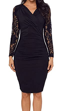 ee2bc68fc5e5 Zantt Womens Lace Stitching V-Neck Ruched Bodycon Office Party Midi Dress  Black US XS
