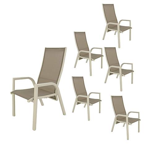 Pack 6 sillones para jardín reclinables y apilables, Tamaño ...