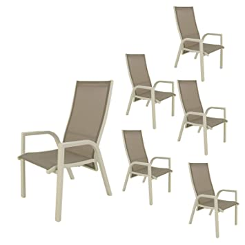 Pack 6 sillones para jardín reclinables y apilables | Tamaño ...