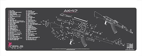 Amazon.com : Cerus Gear AK-47 Schematic Rifle Promat, Charcoal Gray on dc schematic, ar schematic, akm schematic,