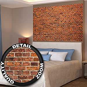 Red brick wall wall decoration mural for Decor mural xxl 4 murs