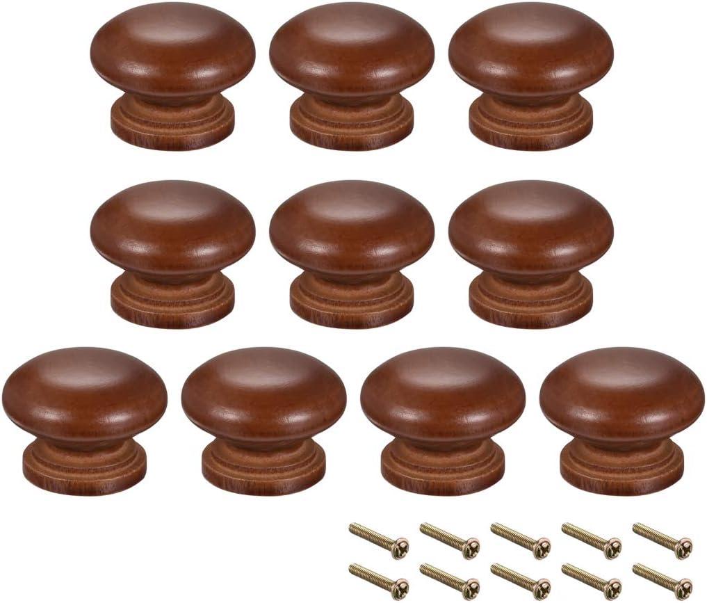 uxcell Round Wood Knobs,10Pcs 35mm Dia Cabinet Furniture Kitchen Pulls Handles for Dresser Drawer Wardrobe, Dark Red