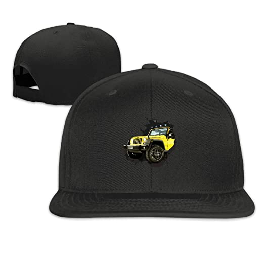 316062a1cf Amazon.com  Yellow Public Jeep Flat Bill Baseball Caps Adjustable ...