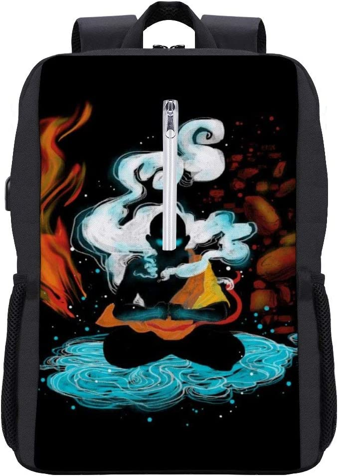 Avatar The Last Airbender ANG Fire State Backpack Daypack Rucksack Laptop Shoulder Bag with USB Charging Port