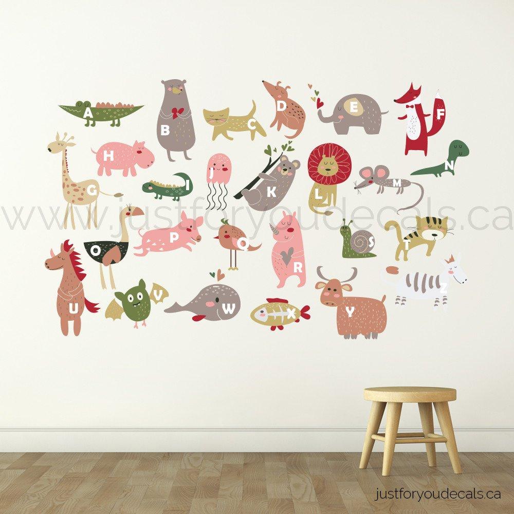 Animal Alphabet Wall Decal, Nursery Wall Decal - Playroom Wall Decal - Educational Wall Decal - Play Room Wall Decal - Animal Wall Decal - Custom Decal (Small (24'x15'))
