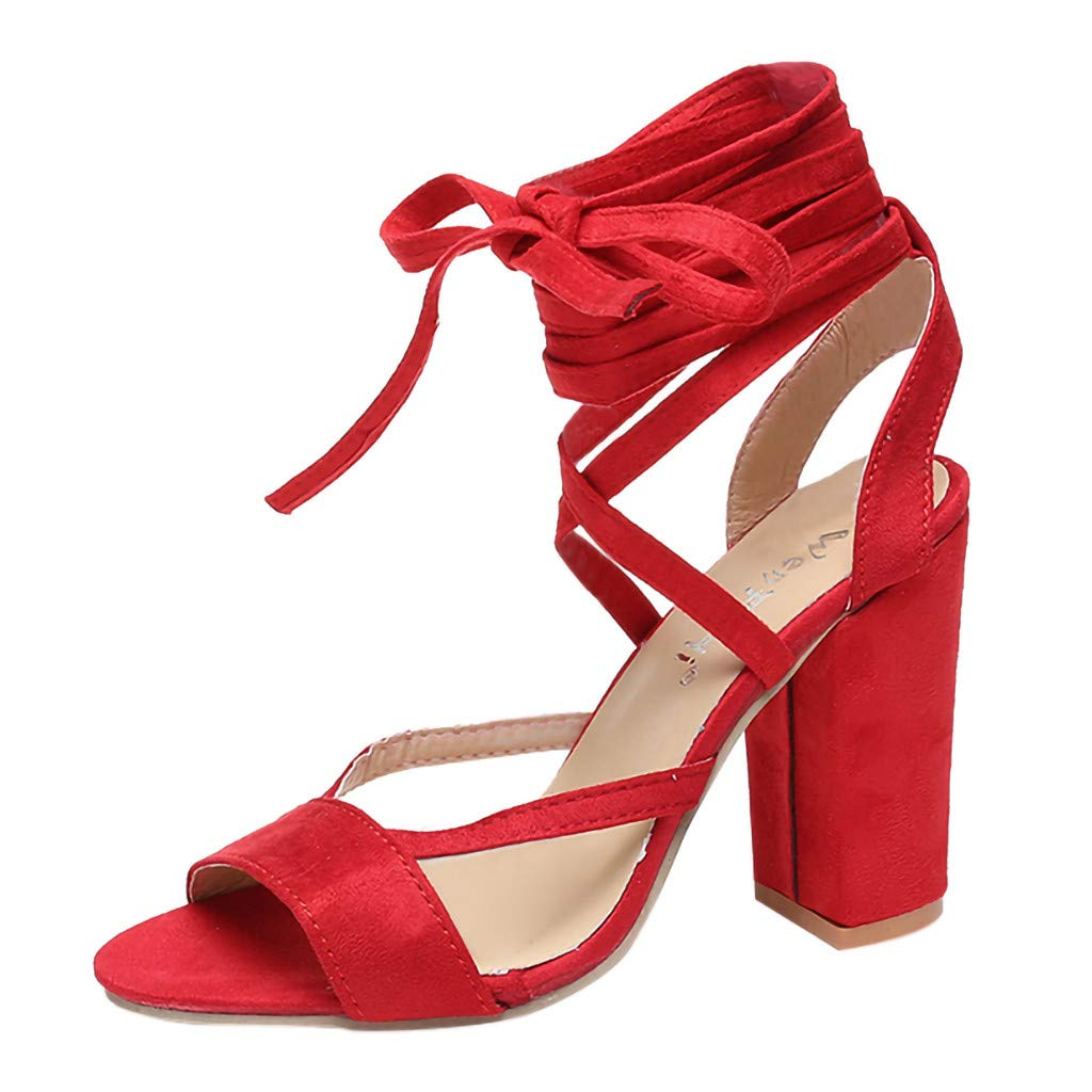 Sanyyanlsy Women Ladies Cross Bandage Bow Knot Sandals Chunky Block High Heel Shoes Peep Toe Sandals Party Anniversary Red by Sanyyanlsy