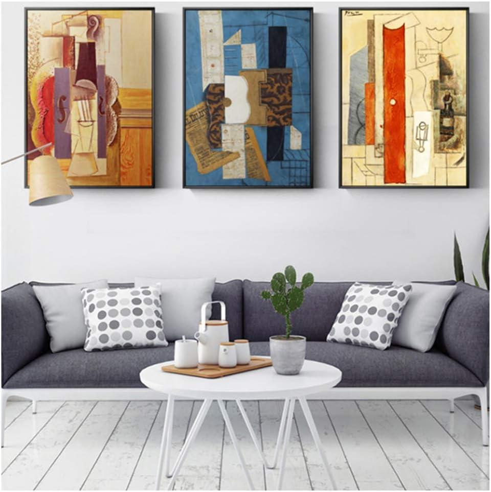 Chihie Picasso mundialmente Famoso Guitarra Abstracta Lienzo Pintura Carteles e Impresiones Pared Arte Cuadros para Sala de Estar Dormitorio -40x60cmx3 sin Marco