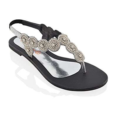 70f2548615ebc8 ESSEX GLAM Womens Slingback Diamante Flat Toe Post Ladies Sparkly Holidays  Sandals Shoes  Amazon.co.uk  Shoes   Bags