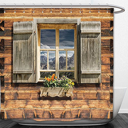 Interestlee Shower Curtain Shutters Decor Weathered Facade Of A MountaIn Hut With Summer MountaIn Reflections On Window Glass Brown - Su Glass Hut