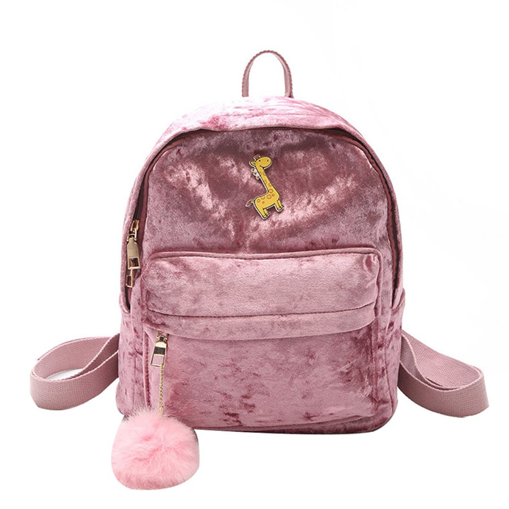Donalworld Girl Velvet Backpack Cute Casual Zipper Solid Bags S Col4