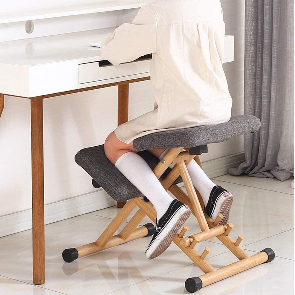 xingchen ergonomisk knästol, halkfri korrigerande sittställning, nätmaterial flerlägesjustering, lindrar midjestorlek, förhindrar hundrygg (färg: grå) Grått