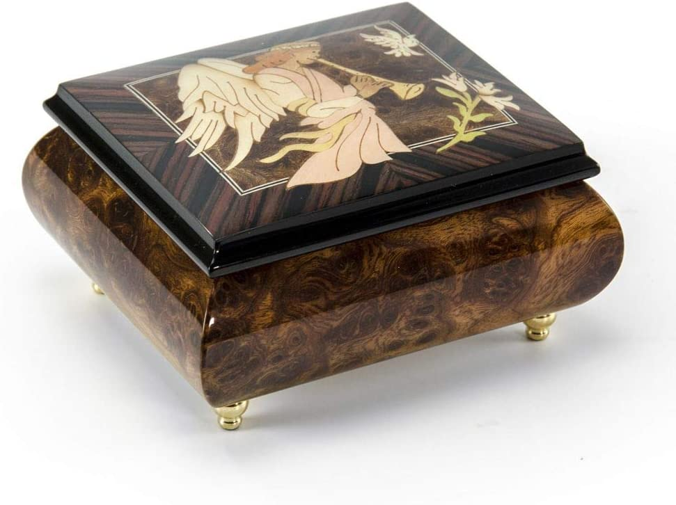 MusicBoxAttic The Wood Inlay Design Features an Angel Playing A Horn/Duduk - Many Songs to Choose - Hukilo SongThe (Jack Owens) Swiss