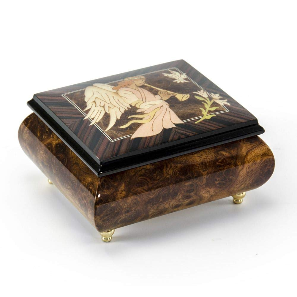 MusicBoxAttic The Wood Inlay Design Features An Angel Playing A Horn/Duduk - Over 400 Song Choices - I Dreamed A Dream