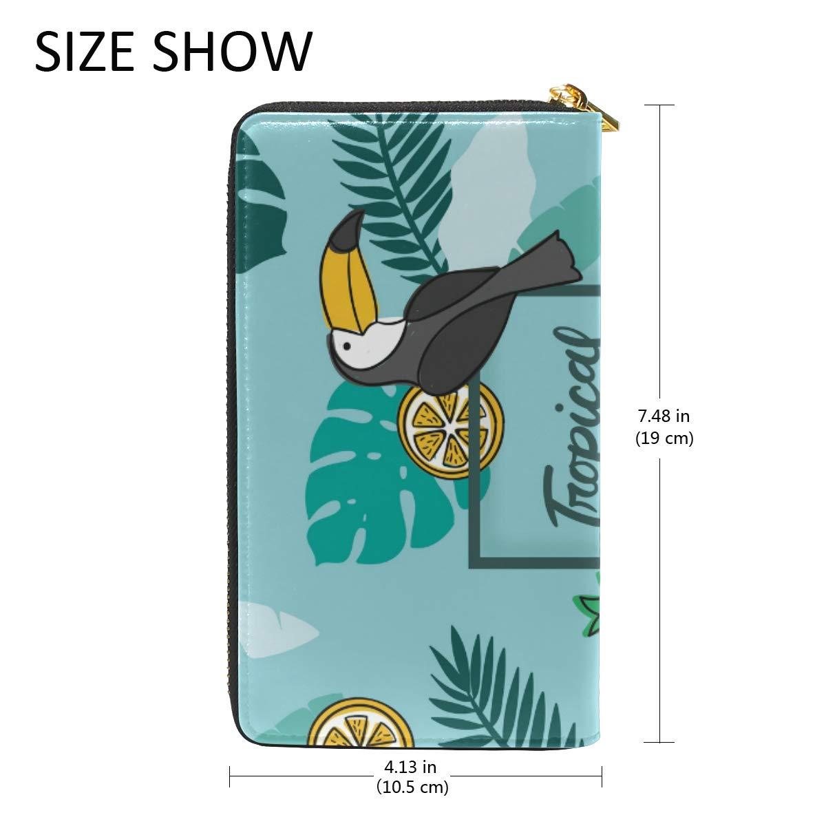 Women Wallet Coin Purse Phone Clutch Pouch Cash Bag,Tropical Background Female Girl Card Change Holder Organizer Storage Key Hold Elegant Handbag Gift