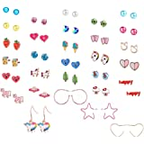 Aganippe 20/24 /30 Pairs Hypoallergenic Stud Earring Set for Women Girls Unicorn Heart Mermaid Scales Rainbow Pearls Owl Rhinestone Cute Mixed Color Stainless Steel Stud Earring Pack